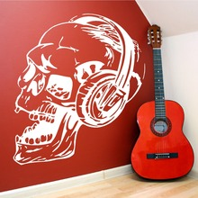 Cool Design Skull With Headphone Music Series Wall Sticker Vinyl Home Living Room Art Mural Removable WallpaperY-849