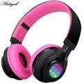 Aaliyah auriculares inalámbricos auriculares bluetooth rgb luz led tf tarjeta fm radio headset pink plegable auricular para xiaomi iphone 7