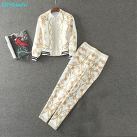 High Quality Autumn Print 2 Pcs Set Tracksuit Women Full Sleeve Fashion Sweatsuits Designer Runway Casual