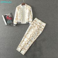High Quality Autumn Print 2 Pcs Set Tracksuit Women Full Sleeve Fashion Sweatsuits Designer Runway Casual