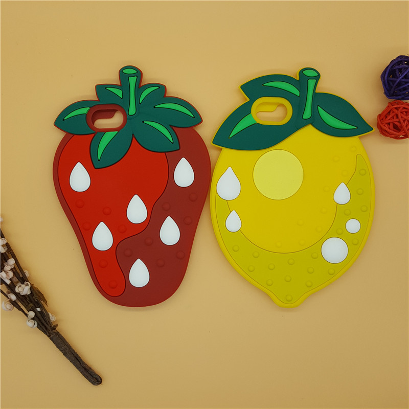 NEW 3D Cartoon Strawberry Lemon Fruit <font><b>Case</b></font> Soft Silicon Back Cover for <font><b>iPhone</b></font> SE 5 5S <font><b>5C</b></font> 6 6S 7 7S &#038; Plus Rubber Shell