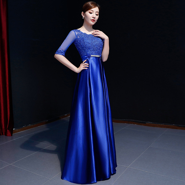 7c5f972e34d00 US $58.97 48% OFF|Popodion satin evening dress formal dress evening dresses  long gown women elegant royal blue dresses ROM80140 -in Evening Dresses ...