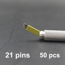 21 Pins 50PCS Permanent Makeup Eyebrow Tattoo Bevel Blade Microblading Needles For 3D Embroidery Manual Tatoo Pen Machine Yellow