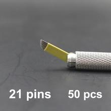21 Pins 50 ШТ. Перманентный Макияж Бровей Татуировки Лезвием Конические Microblading Иглы Для 3D Вышивка Ручной Татуировки Ручка Машина Желтый