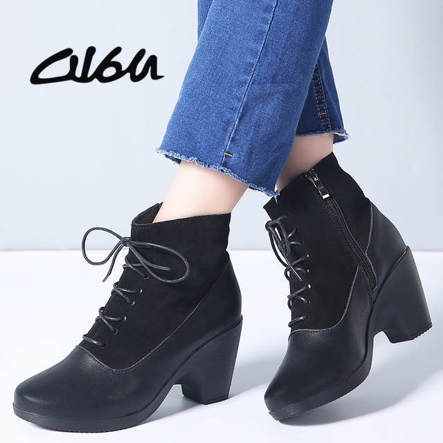72003afdeae O16U 2019 Spring Women Short Boots Shoes High Heels Fashion Ankle Booties  Ladies Black Round Toe Leather Chelsea Boots Female