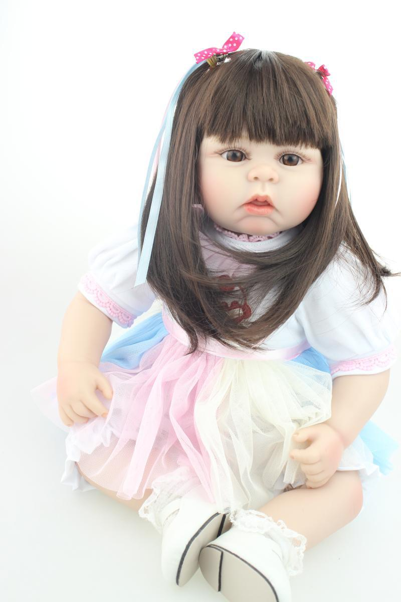 ФОТО 55cm long hair princess dolls for girls/silicone baby-reborn dolls lifelike baby alive bonecas best children gift high quality