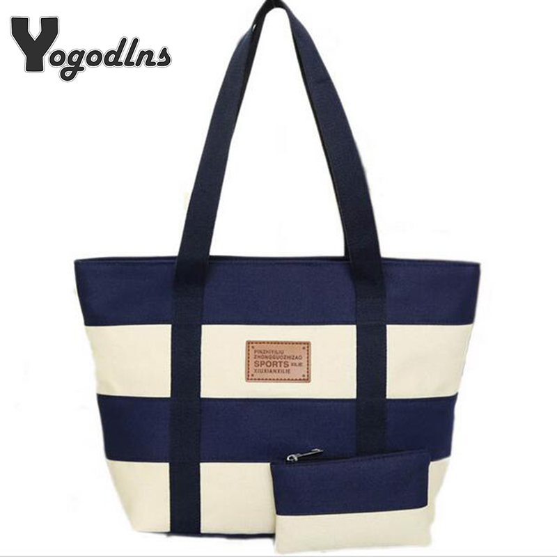 2018 Women Beach Canvas Bag Fashion Color Stripes Printing Handbags Ladies Large Shoulder Bag Totes Casual Bolsa Shopping Bags hs rhyme canvas woman stripe bags ladies bags korean color shoulder diagonal color canvas bag in three chains
