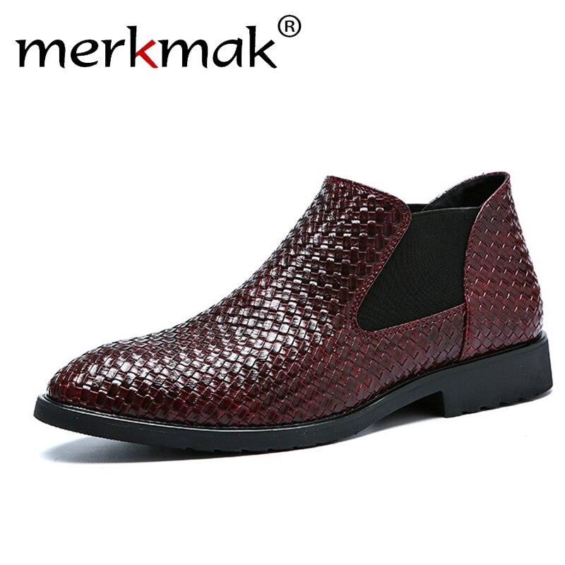 Mermak Mode männer Chelsea Stiefel Männlich Knöchel Schuhe Luxus Marke Braid Leder Männer Stiefel Kleid Schuhe Party Hochzeit Casual wohnungen