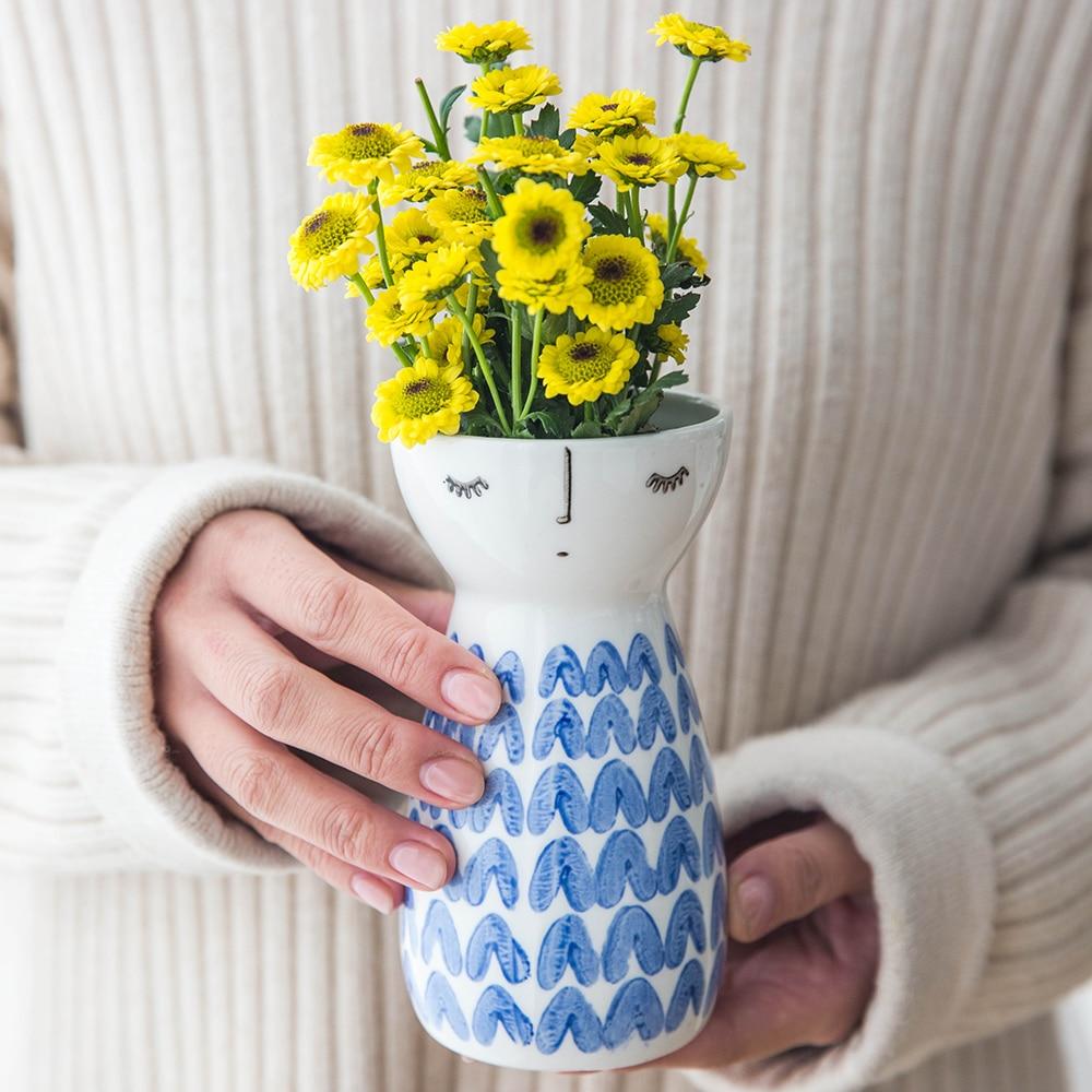 Wedding Gift Vase: 1pc Cute Girl Vase Ceramic Flower Vase Modern Elegant Vase