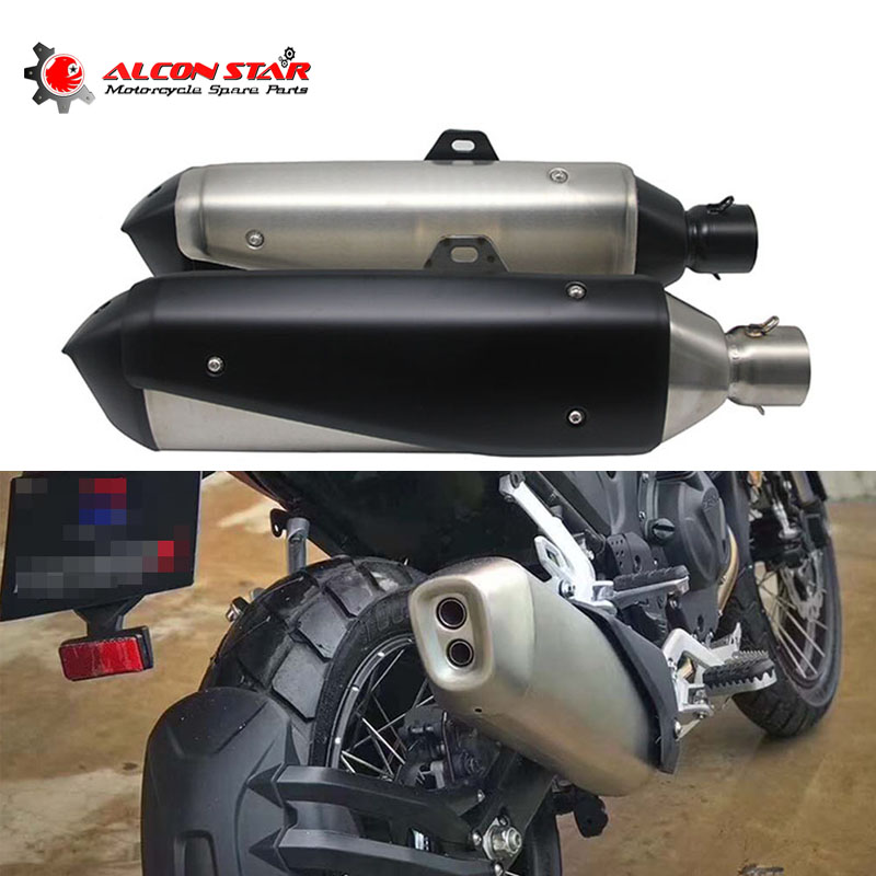 Alconstar 60MM Motorcycle Akrapovic <font><b>Exhaust</b></font> Muffler Slip On For <font><b>BMW</b></font> G310 GS/G310R/R1200 GS/R1200 RS/<font><b>S1000XR</b></font> Honda NC750X/CBF1000 image