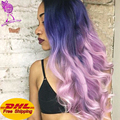Beauty Beat Quality Purple To Pink Synthetic Wig Ombre Mixed Purple Pink Lace Front Wigs Synthetic Hair 16''---26'' Body Wave
