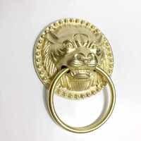 1 шт. античный латунный дверной молоток с головой льва благоприятное маленькое кольцо для двери из цельного дерева стеклянная дверная ручка...