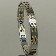 11mm2tone gold plating Men magnetic jewelry classic heavy hi-tech scratch proof tungsten bracelet