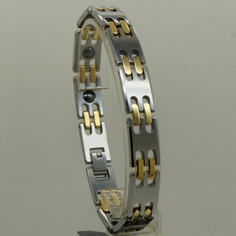 11mm2tone gold plating Men magnetic jewelry classic heavy hi-tech scratch proof tungsten bracelet11mm2tone gold plating Men magnetic jewelry classic heavy hi-tech scratch proof tungsten bracelet