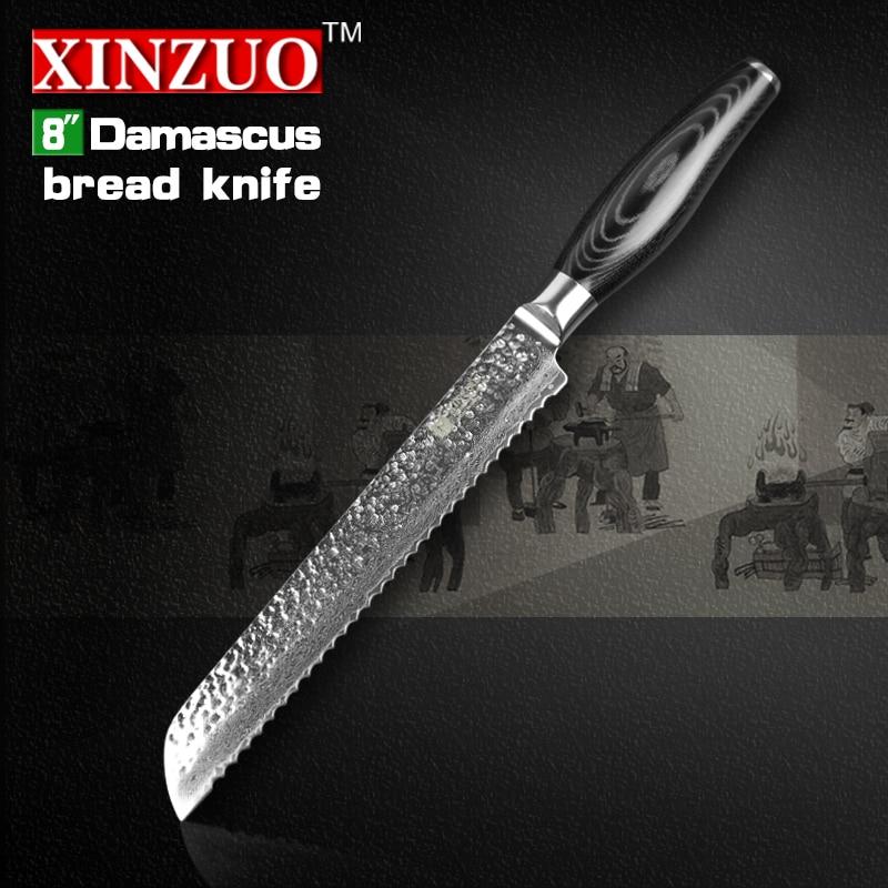 XINZUO 8 inch cake font b knife b font damascus bread font b knife b font