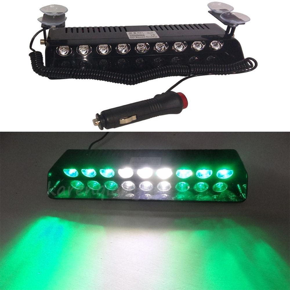 CYAN SOIL BAY 9 LED Emergency Lights Green/White/Green Vehicle Car Strobe Flash Light Warning Dash Lamp 1W DC 12V Car Lights LED