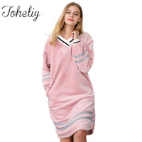 Queenplus Winter Nightgown Sleepshirt 2017 Autumn New Lady Dressing Gown Female Long Sleeved Coral Fleece Nightdress Home