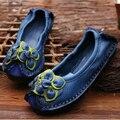 Original Hecho A Mano Otoño Zapatos Mocasines de piel de Vaca Real de Cuero Genuino de Las Mujeres Zapatos de Estilo Popular de Las Señoras Zapatos Planos de Piel Para Mamá sapato