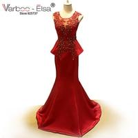 Красное вечернее платье Русалка See Through спинки платье для выпускного вечера пол Длина платье Кружево аппликации из бисера атласной оборкой
