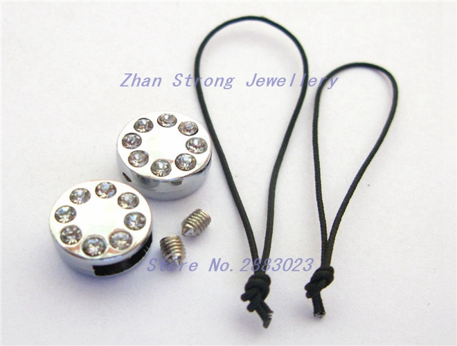 Wholesale price 10pcs-50pcs-100pcs round head clasp 8mm zinc alloy rhinestone slide Charms DIY Accessories
