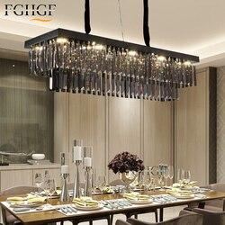 Luksusowe żyrandole prostokątne lampy kryształowe żyrandole kuchenne oprawy oświetleniowe nabłyszczania salon Hotel światła lampa LED