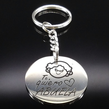 2021 Grandmother Silver Color Stainless Steel Keychain For Women Round Key Chain Jewelry Grandmother Gift abuela llavero K72287B image
