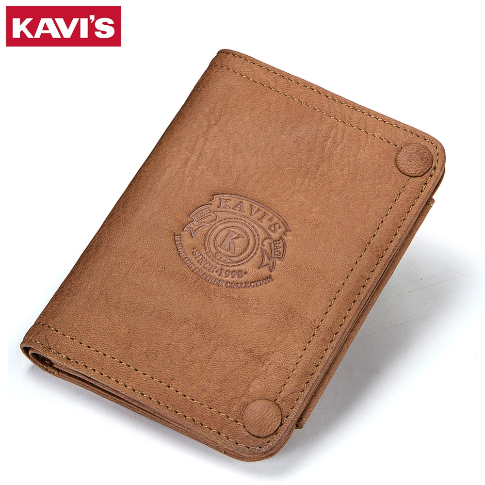 KAVIS Genuine Leather Wallet Men Male Clutch Bag Coin Purse Walet Portomonee PORTFOLIO Clamp for Money Handy Card Holder Coin