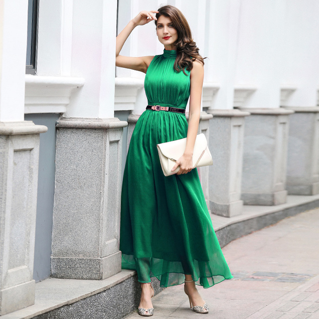 Df Plus Size Green Women Long Dress Turtleneck Sleeveless Dress Ball