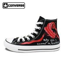 Холст кроссовки для мужчин и женщин Converse обувь индивидуальный дизайн ручной росписью Сумерки спортивной обуви холст скейтбординга бренд