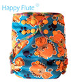 HappyFlute WATERPROOF  fitted diaper, PUL outer and bamboo terry inner, Bamboo AIO diaper, fit babies from 5-15kgs
