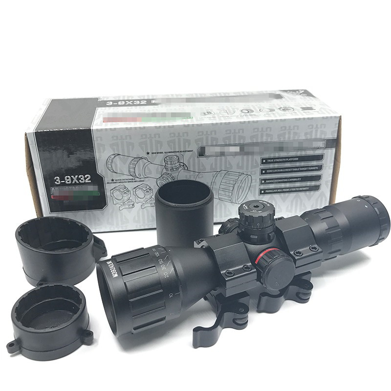 Air Gun Compact CQB Buster 3-9X32 AOE RGB With Sun Shade Green Red Illuminated Reticel Rifle Scope Mil-Dot Tactical Optics Scope leapers utg 3 9x32 aolmq compact mil dot reticle hunting optics riflescopes locking w sun shade