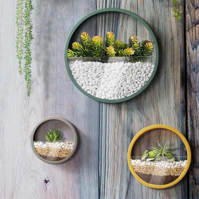 Креативная подвесная стенная ваза для домашний декор искусственные цветочные вазы сплошной цвет Железный растительный держатель горшок корзина современный бонсай