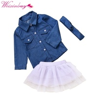 Baby Girl Clothes Clothing Set Denim Tops T-shirt + Skirt Headband 3PCS Toddler Kids Outfits Summer Cowboy Children Set
