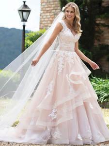 Ball-Gown Wedding-Dresses Lace Luxury Cap-Sleeve Custom-Made Elegant Pink Vestido-De-Noiva