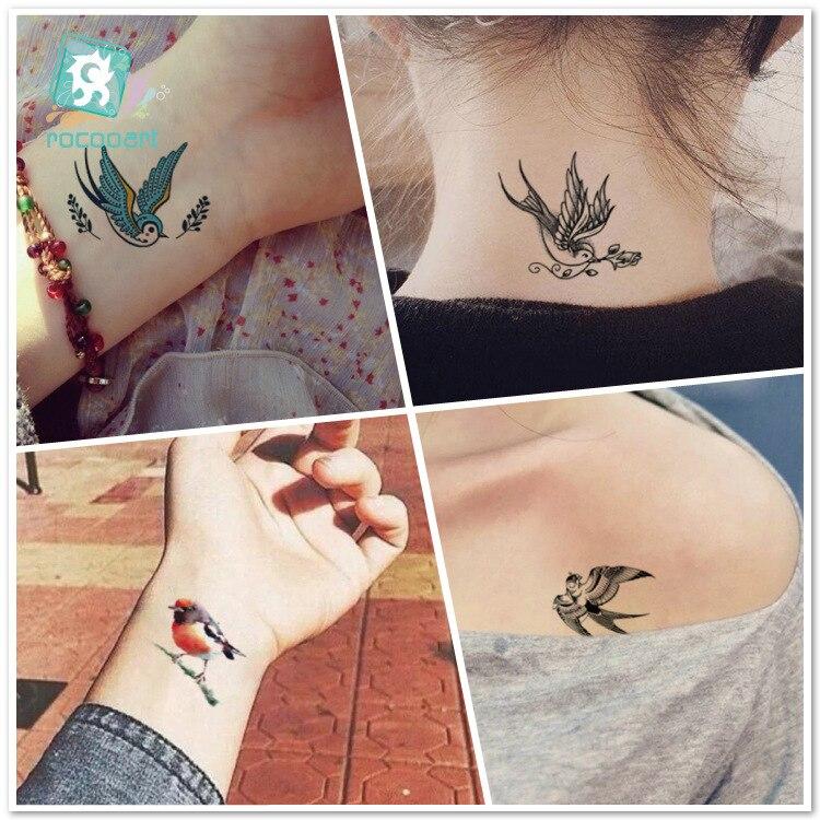 Nouveau Tatouage Autocollants Etanche Hirondelles D Oiseaux De Mode