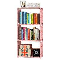 Simple 3 Grid Bookshelf Assembly Metal Reinforced Bookcase Combination Multifunctional Bookcase Indoor Floor Shelf Display Shelf