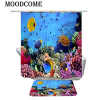turtle coral shower curtains set with blue sea bath mat drop shipping new design popular bathroom curtain