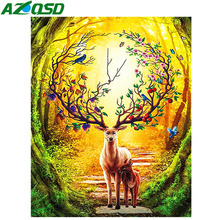 AZQSD Diamond Painting Deer Full Square Mosaic Animal Embroidery Display Needlework Picture Of Rhinestones