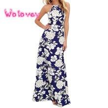 2017 Womens Summer Maxi Dresses New Arrival Ladies Boho Dress Sleeveless Blue Halter Neck Floral Print Vintage A Line Wolovey#20