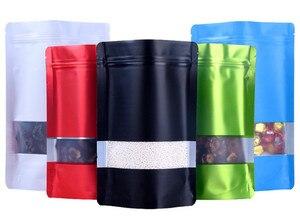 Image 2 - Leotrusting 100pcs Stand up Nero Opaco Foglio di Alluminio Finestra Zip Serratura Sacchetto di Caffè In Polvere Sacchetto di Immagazzinaggio Finestra Smerigliato Noci sacchetto del regalo