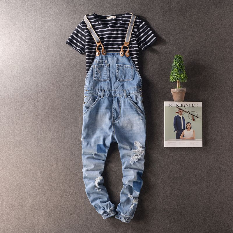 Autumn Men Denim Harem jumpsuits Cool Ripped Hole Blue Denim Bib Overalls Fashion Slim Distrressed Suspenders Jeans pants 063008 men cool ripped hole blue denim overalls men denim jumpsuit bib pants suspenders trouser for man long slim jeans for male 063007