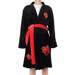 Image 2 - Anime Naruto Cosplay Bademantel Akatsuki Uchiha Itachi Flanell Pyjamas Erwachsene Unisex Winter Warme Nachtwäsche Nachtwäsche Kimono Robe