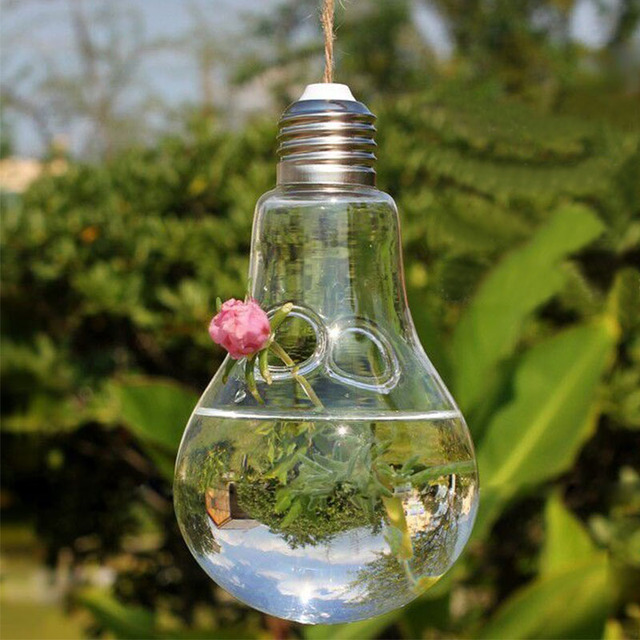 Clear Glass Light Bulb Vase Hanging Lamp Shape Hydroponic Flower