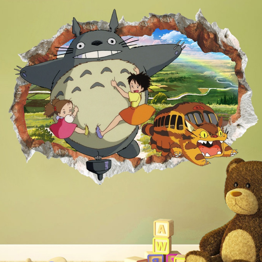 & Cartoon My Neighbor Totoro Landscape Broken Wall Stickers Bedroom ...