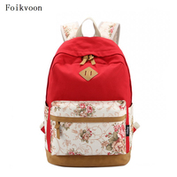 Foikvoon Women Canvas Backpack Printing Fashion Travel Backpack Womens Small Fresh Practical Women's Backpack Brand