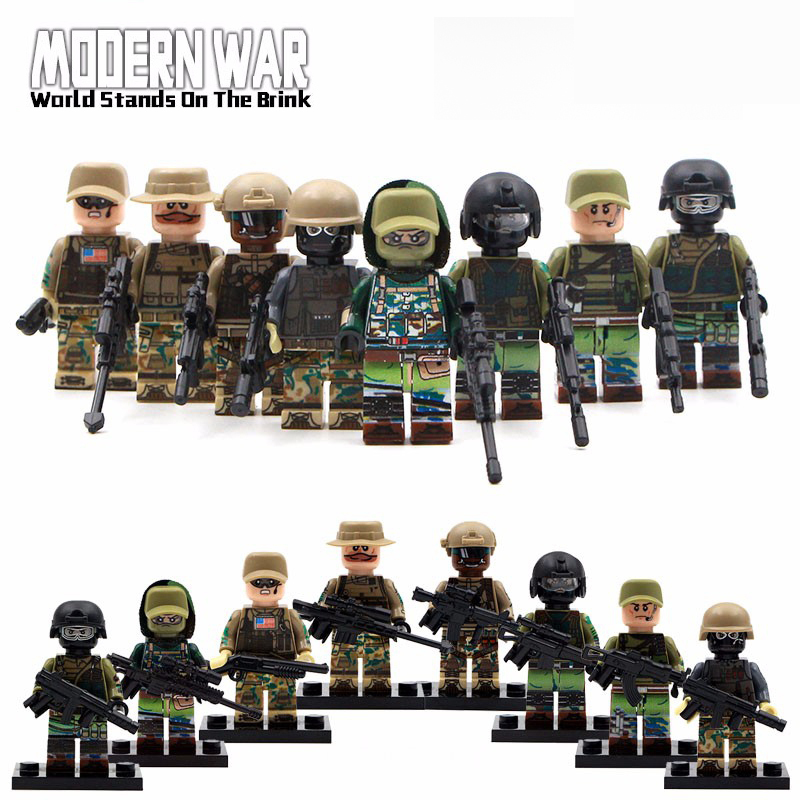 compatible ,bela military 8pz Army MOC Russian Marine US Army Figure Anti-terrorism Soldier Team With Weapons Blocks Toys islam between jihad and terrorism