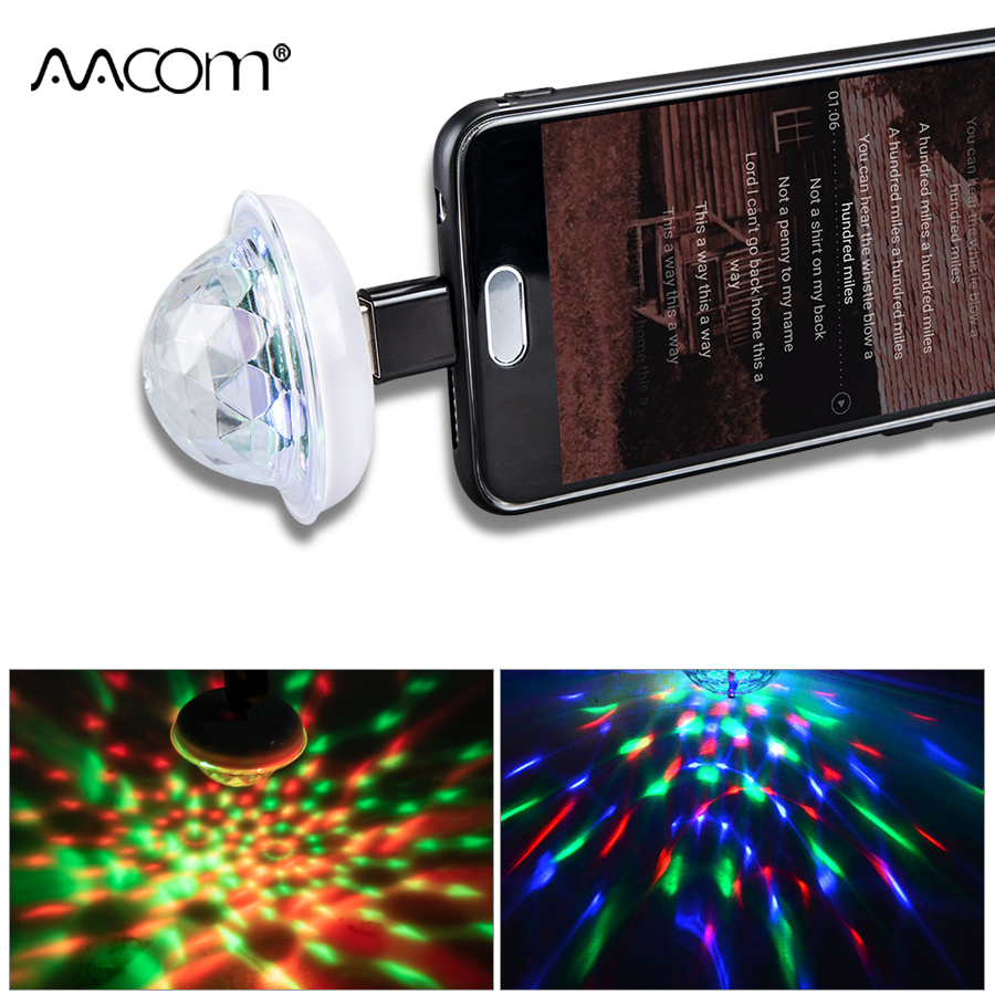 Music Sensor Usb Mini Disco Stage Lighting Effect Light Dj Crystal Magic Ball Lamp Apply To Phone Micro Usb/Lightning/Type C