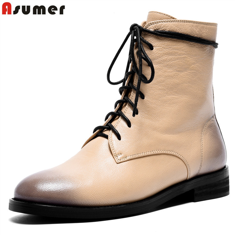 ASUMER genuine leather ankle botos round toe zip classic motorcycle boots lace up ladies shoes women winter boots short booties women s autumn flats ankle boots brand designer front zip genuine leather short booties motorcycle punk boots winter shoes women