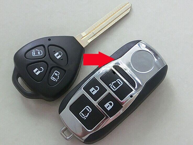 4 Tasten Geändert Folding Schlagfernschlüsselober Fall Für Toyota Camry Avalon Corolla Rav4 Venza Yaris Fob Tastaturabdeckung 5 Teile/los