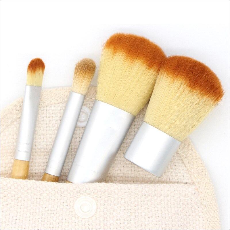 MODOAO 4pcs/set Professional Makeup Brushes Natural Bamboo Handle Cosmetics Powder Pincel Blush Brushes With Hemp Linen Bag